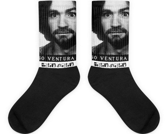 Helter Skelter Socks, Charles Manson Family, Serial Killer, Criminal Mugshot Gifts