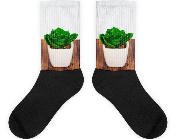 Succulent Socks, Cactus Plants, Stocking Stuffer, Novelty Socks, Gardening Lovers Gift
