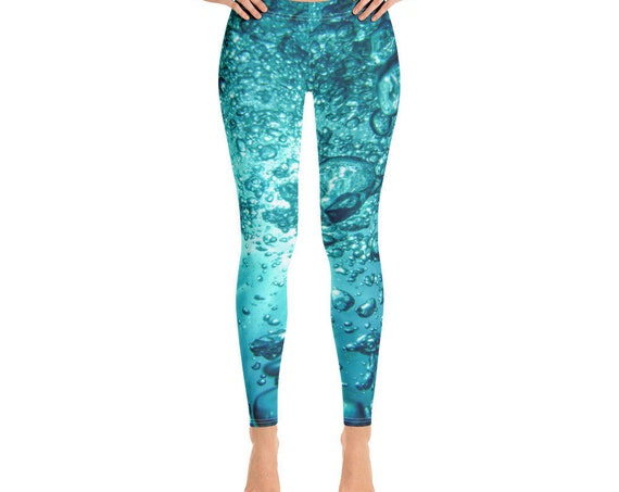 Hydrate Water Bubbles Leggings, Full Length Activewear Yoga Tights, Cute Loungewear, Festival Gear from Frenchtoastygood