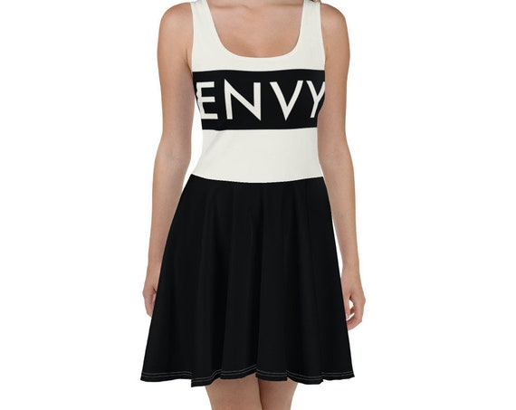 Envy Skater Dress, Fit and Flare Skirt, Goth Party Rave Aesthetic, Twirl Plus Size Stretch Dresses for Women
