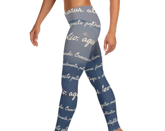 Wizard Leggings, Spells, Jinx, Enchantments, Low Waist Magic Theme Tights for Workout, Dance, Yoga