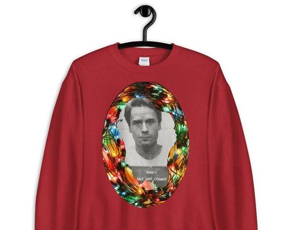 Ugly Christmas Sweater, Ted Bundy Holiday Mugshot Sweatshirt, True Crime Junkie, Serial Killer, Horror Aesthetic