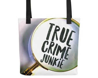 True Crime Junkie Totebag, Weather Proof Fabric, Awesome Detective Graphic Tote bags for Crime Show Fans and Armchair Sleuths