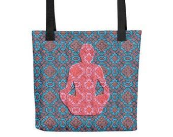 Yoga Tote Bag, Yogi Sukhasana Pose, Bohemian Pattern Purse for Gym, School