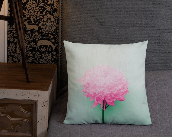Pink and Mint Green Floral Throw Pillow, Square Accent Cushion, Chrysanthemum Flower