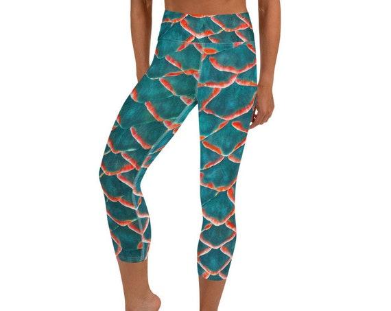High Waist Capri Leggings with Pocket, Fish Scale Pattern, Mermaid Dragon Print Tights