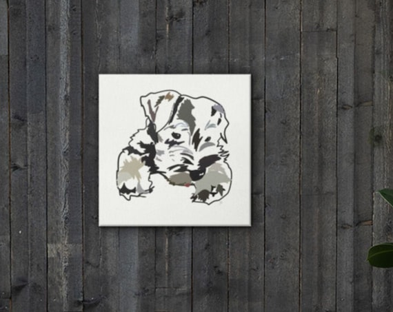 Miniature Schnauzer Art Painting, Square Canvas Dog Illustration, 2nd of Series from Frenchtoastygood