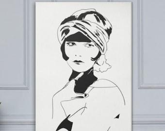 Roaring 20s Art, Large Canvas Painting, Minimalist Black Ink Line Art, Original Composition, Figurative Portrait