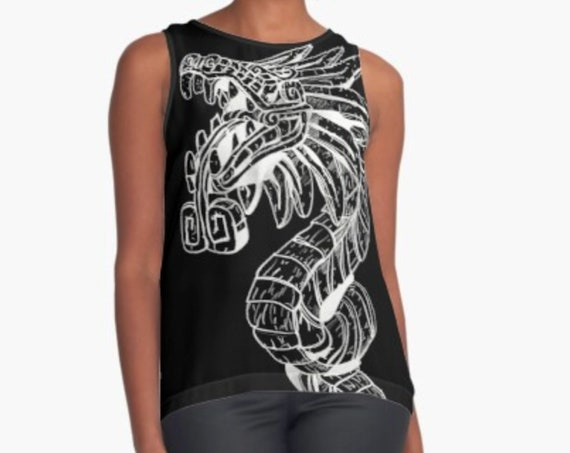 Quetzalcoatl Print Blouse, Dragon Graphic Tanktop, Lightweight Sleeveless Top for Women