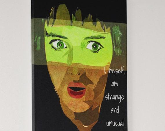 Beetlejuice Movie Canvas Art, Original Painting, Strange and Unusual Lydia Deetz, Winona Ryder, Horror Goth Home Decor
