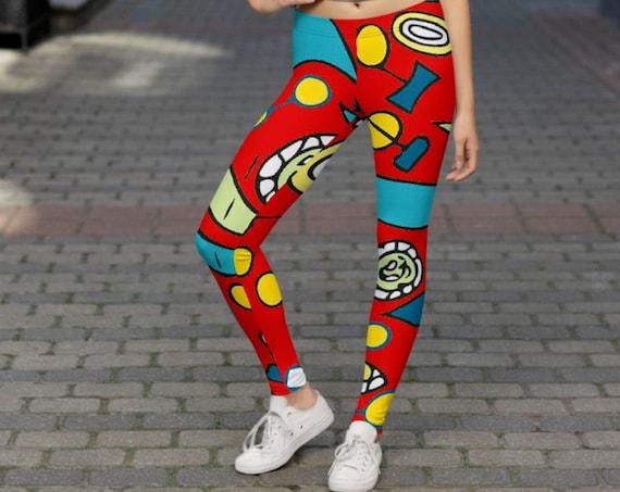 Retro Mod Print Ladies Leggings, Unique Summer Festival Tights, Cool Pattern Active Wear for Women