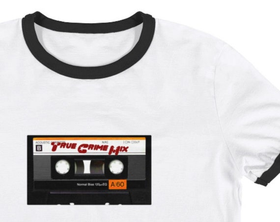 True Crime Mix Tape T-Shirt, Retro Aesthetic Ringer Tee, Crime Junkie Gifts