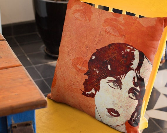 Cute Orange Accent Pillow, Chair or Sofa Cushion, Fall Bedding, Vintage Vibe from Frenchtoastygood