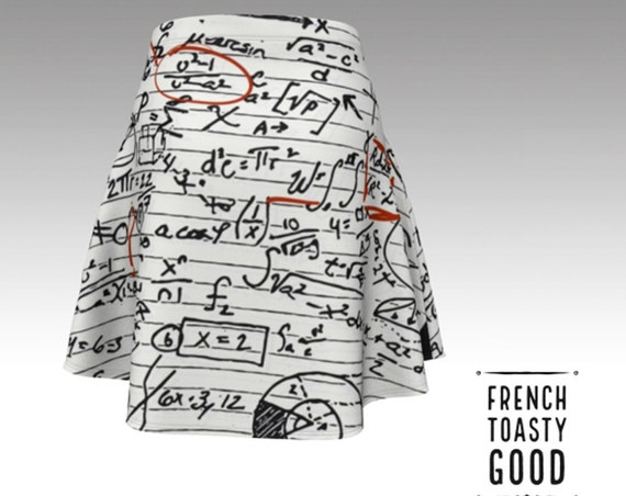 Math Skirt, Unique Geeky Handmade A-line Skirt Math Formulas, Algebra, Geometry, Physics Symbols