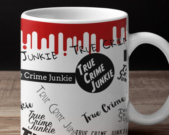 Crime Junkie Coffee Mug, Aesthetic Sticker Style, True Crime Gifts for Basically Detectives