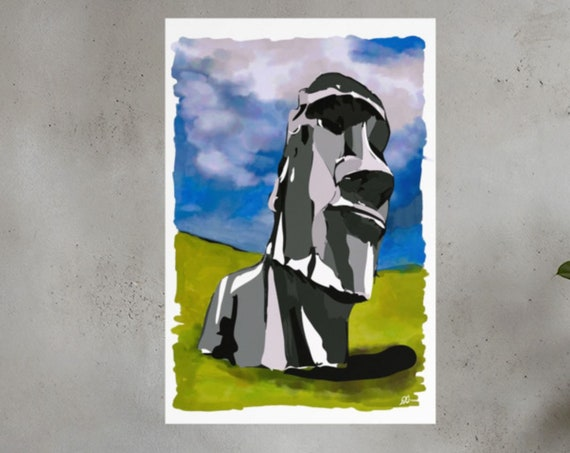 Moai Poster, Easter Island Rapa Nui Original Art, Unframed Vertical Art Print, Large Statement Piece