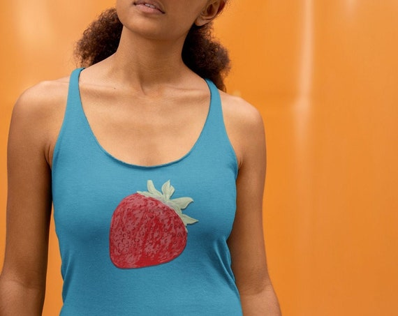 Strawberry Illustration TankTop, Racerback Soft Triblend Top, Cute Tank in plus sizes with Yummy Fruit Graphic for Summer