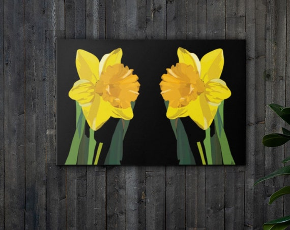 Gold Daffodils, Large Canvas Art Print, Original Painting, Modern Pop Artwork, Contemporary Home Decor