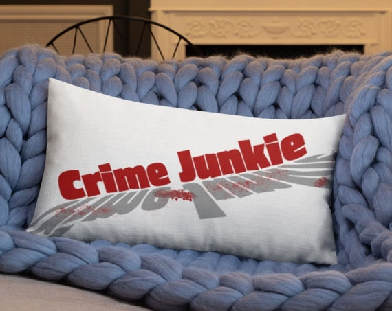 Crime Junkie Pillow, True Crime Home Decor, Room Accent Pillows for Murderinos