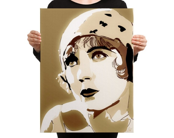 Sepia Portrait, Silent Movie Original Art Print, Mounted Canvas Painting for Home Decor, Condo Room Staging, Large Wall Art