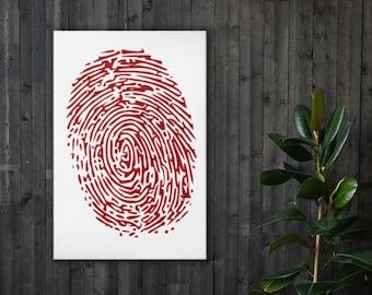 Redhanded Fingerprint Art, Law Enforcement, Detective Criminal Justice Theme, Unique Home Decor, Interior Room and Office Staging