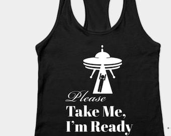 Funny UFO Tank top, Racerback tanktop for Women, Comfy Loungewear, Outer Space Alien Travel