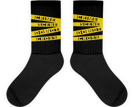 True Crime Socks, Yellow Crime Scene Tape Do Not Cross, Police Law Enforcement Cop Socks, Crime Junkie Gifts