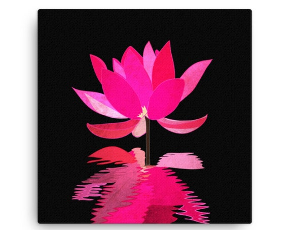 Lotus Reflection, Canvas Painting, Colorful Statement Piece, Square Wall Art, Unique Contemporary Home Decor