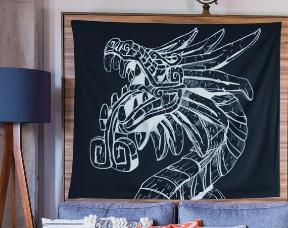 Quetzalcoatl Wall Tapestry, Lightweight Fabric Hanging, Unique Home Decor, Housewarming, Graduation Gift