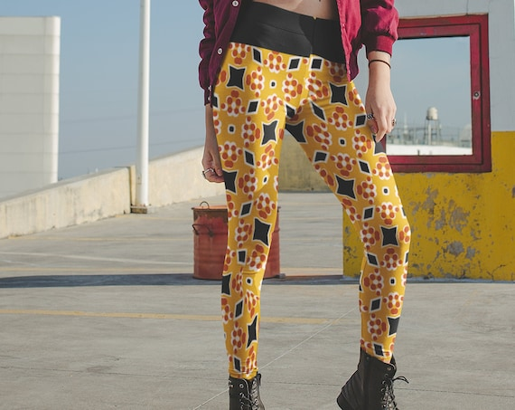 High Waisted Leggings, Tights, Stretch Pants, Elastic Waist Workout, Printed Harlequin Pattern