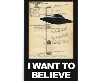 I Want to Believe (in the Oak Island Treasure), Funny high quality graphic poster for Oak Island X-Files fans