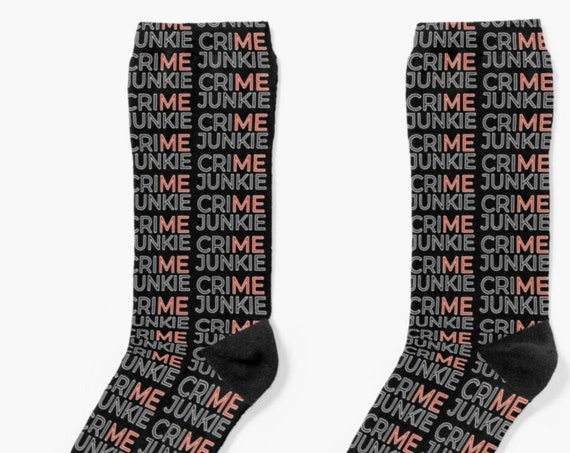 Crime Junkie Socks, True Crime Gift Socks, Stretchy Knit Crew Socks for Amateur Detectives