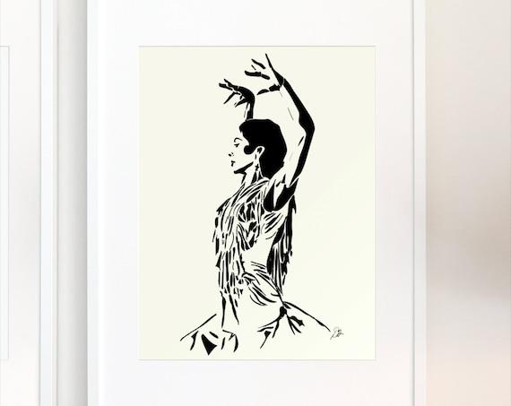 Flamenco Dancer Art Poster, Giclée Print, Minimalist Home Decor, Interior Design Staging