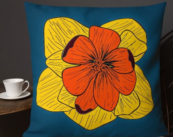Colorful Pop Pillow, Flower Accent Throw Cushion for Bedroom, Sofa, Fun Home Decor from Frenchtoastygood