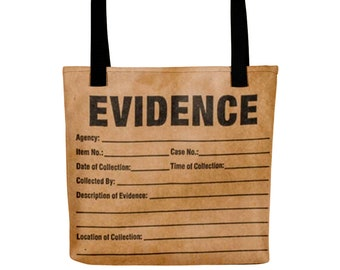 """Evidence Tote bag, True Crime Gift for Crime Junkies, 15"""" by 15"""" Totebag Funny Unique Detective Print from Frenchtoastygood"""