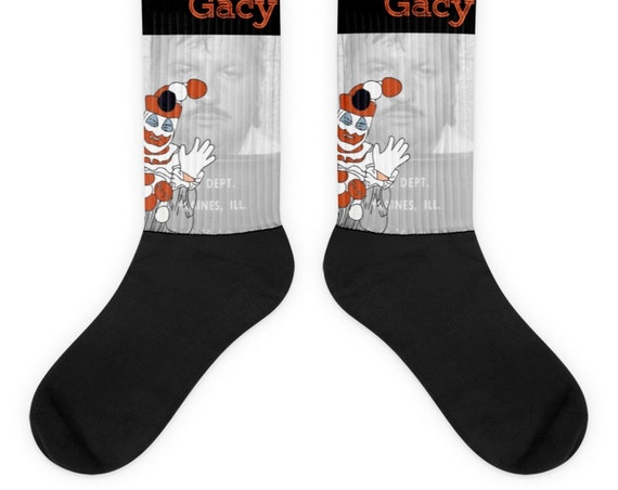 Serial Killer Socks, John Wayne Gacy, Pogo the Clown, True Crime Accessories for Horror Fans and Crime Junkies