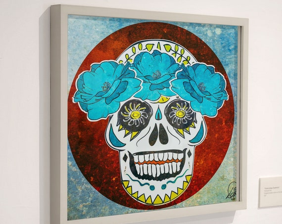 Skull Artwork, Wood Mounted Canvas, Grateful Dead Aesthetic Home Decor