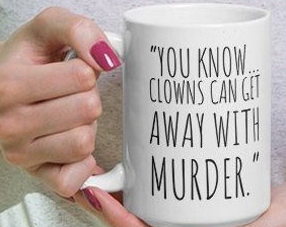 John Wayne Gacy Mug, True Crime Serial Killer Coffee Cup, Horror Memorabilia, Pogo the Creepy Clown, Killer Quotes