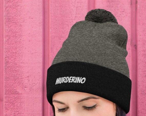 Murderino Pom-Pom Beanie Hat, My Favorite Murder SSDGM Apparel, Cute Gift for True Crime Fans