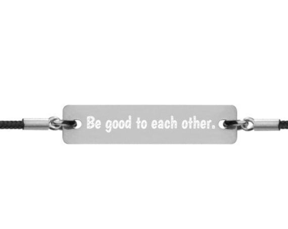 Be Good Silver String Bracelet, Positivity Charm for Love and Friendship, Good Vibes Lifestyle Jewelry