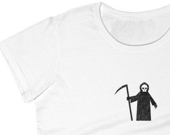 Grim Reaper Women's TShirt, Cute Fitted Lightweight Top, Horror Skull Graphic Shirts