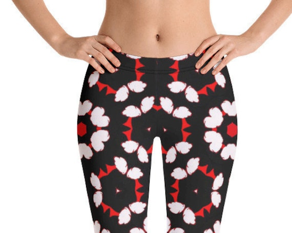 Ladies Capri Leggings, Stretch Footless Tights, Unique Print Pattern, Fun Festival Active Wear