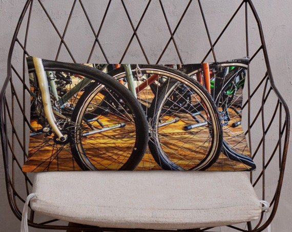 Bicycle Pillow, Bike Wheels Accent Cushion for Sofa, Bedroom, Sports Lover Home Decor, Cyclist Gifts