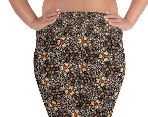 Fall Aesthetic Plus Size Leggings, Print, High Elastic Waistband for Pilates, Dance, Loungewear