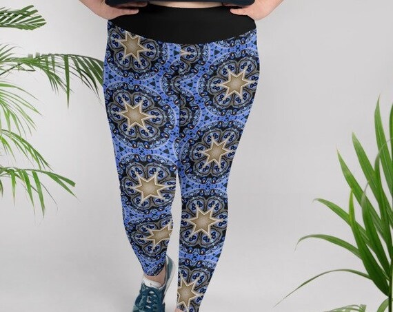 Plus Size Star Leggings, Cute EDM Music Festival Gear, Yoga Workout Tights, Loungewear, Unique Pattern from Frenchtoastygood