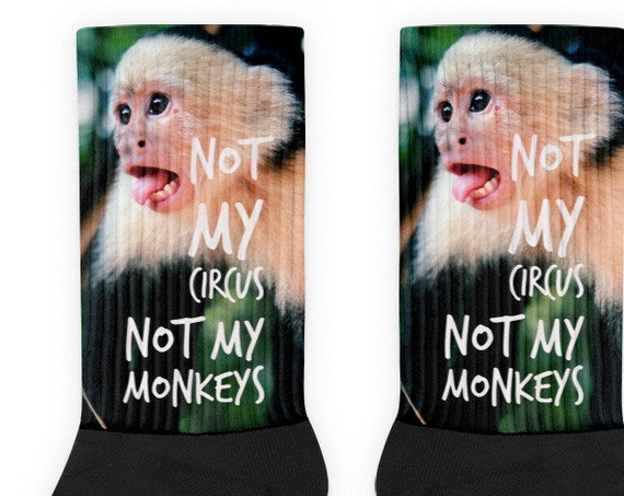 Not My Circus, Not My Monkeys Socks, Stocking Stuffer Novelty Socks, Funny Polish Saying, Cozy Socks