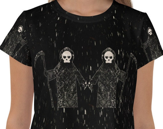 Grim Reaper Crop Top, Black Death Stretchy Tshirt, Full Print Short Tee, Ladies Fit, Available in Plus Sizes