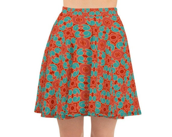 Red A-line Skater Skirt, Print Pattern, High Waist Flare Fit Stretchy Fabric from Frenchtoastygood Designs