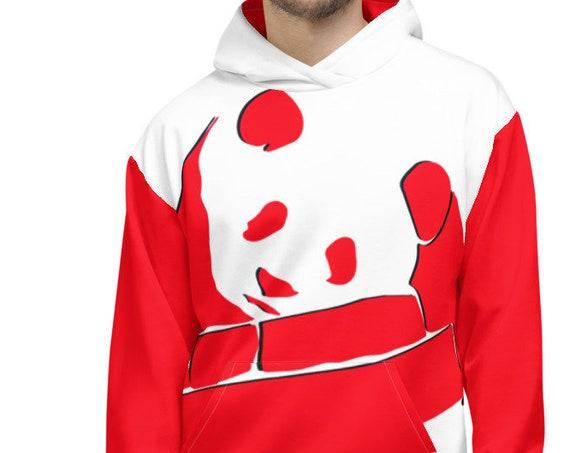 Custom Panda Bear Hoodie, Cute Graphic Animal Art, Red Print Pullover Sweatshirt