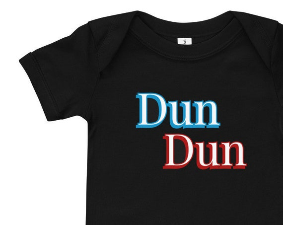 Dun Dun Baby Short Sleeve One Piece, Bella+Canvas Brand, Original Law Order Graphics